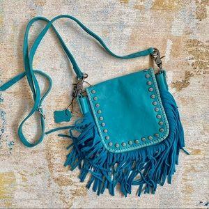 Blue Leather Tassel Montana West Crossbody